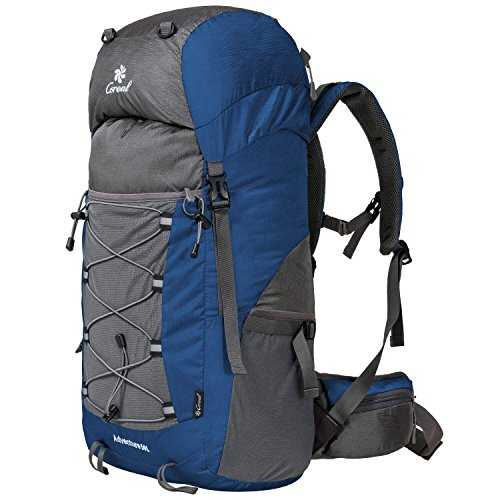 Coreal 50L Hiking Backpack Camping Rucksack Trekking Daypack Climbing Bag Blue - 50l Belt