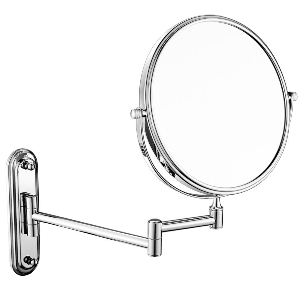 Bathroom Rotating Mirror Bathroom Makeup Mirror Folding Creative Cosmetic Mirror Two-sided Mirror Shaving Mirror Magnifier 8in,Black-6