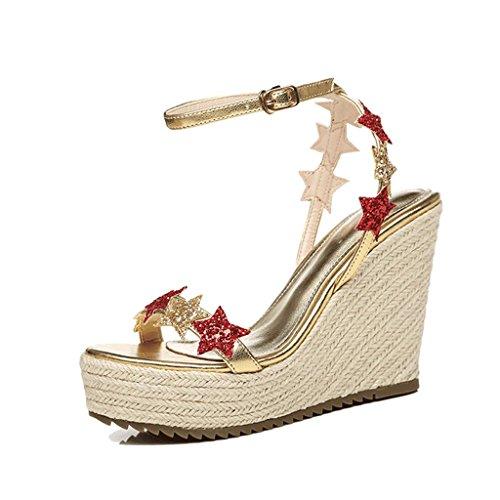 534bca54fe2 SANDALIAS cuña sexy Zapatos abiertos de punta abierta para mujer Zapatos  elegantes de tacón alto con