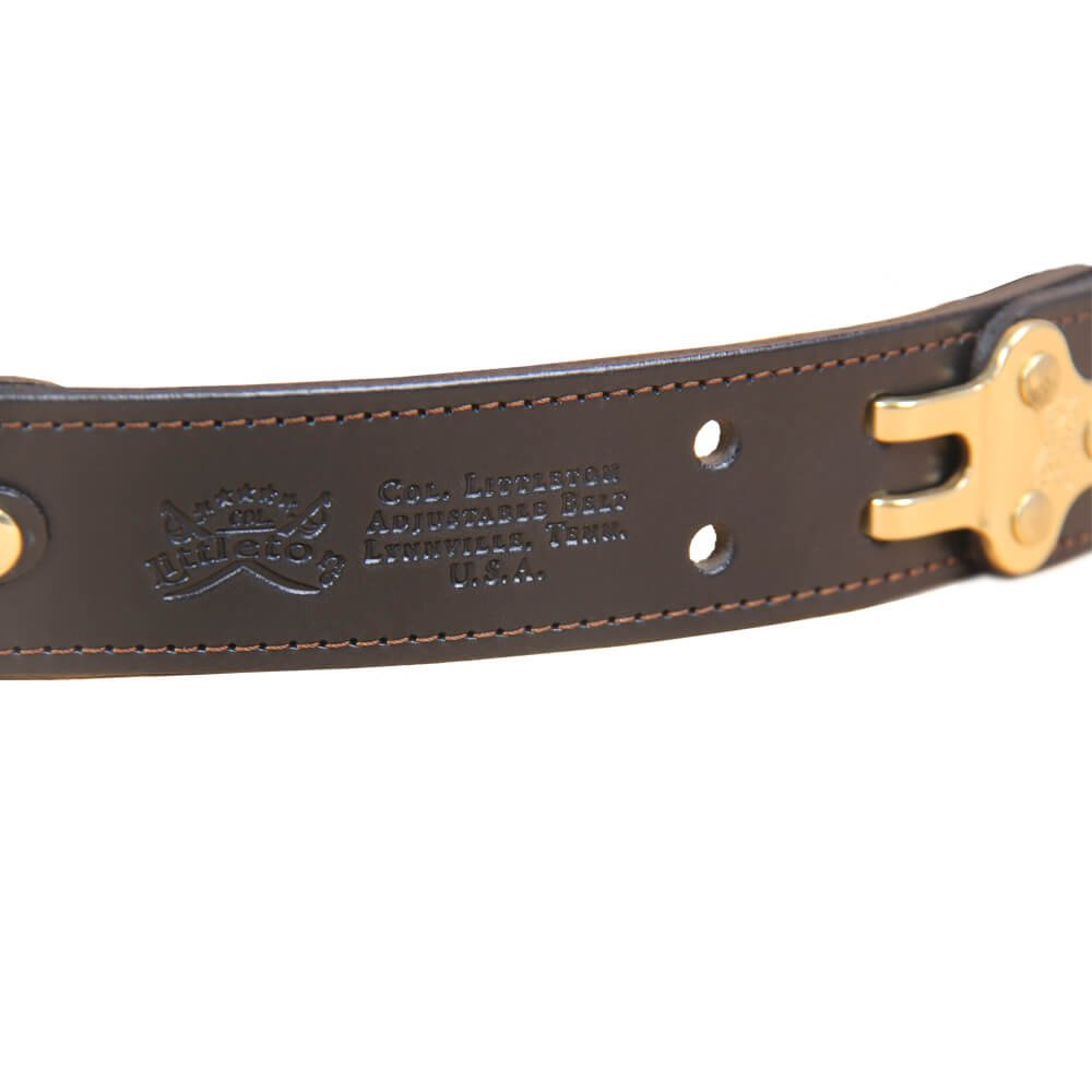 Black Leather Mens Belt Adjustable No. 5 Brass Cinch Buckle Large USA Made Italian Bridle Unique Design 1 3/8 in wide by Col. Littleton (Image #5)