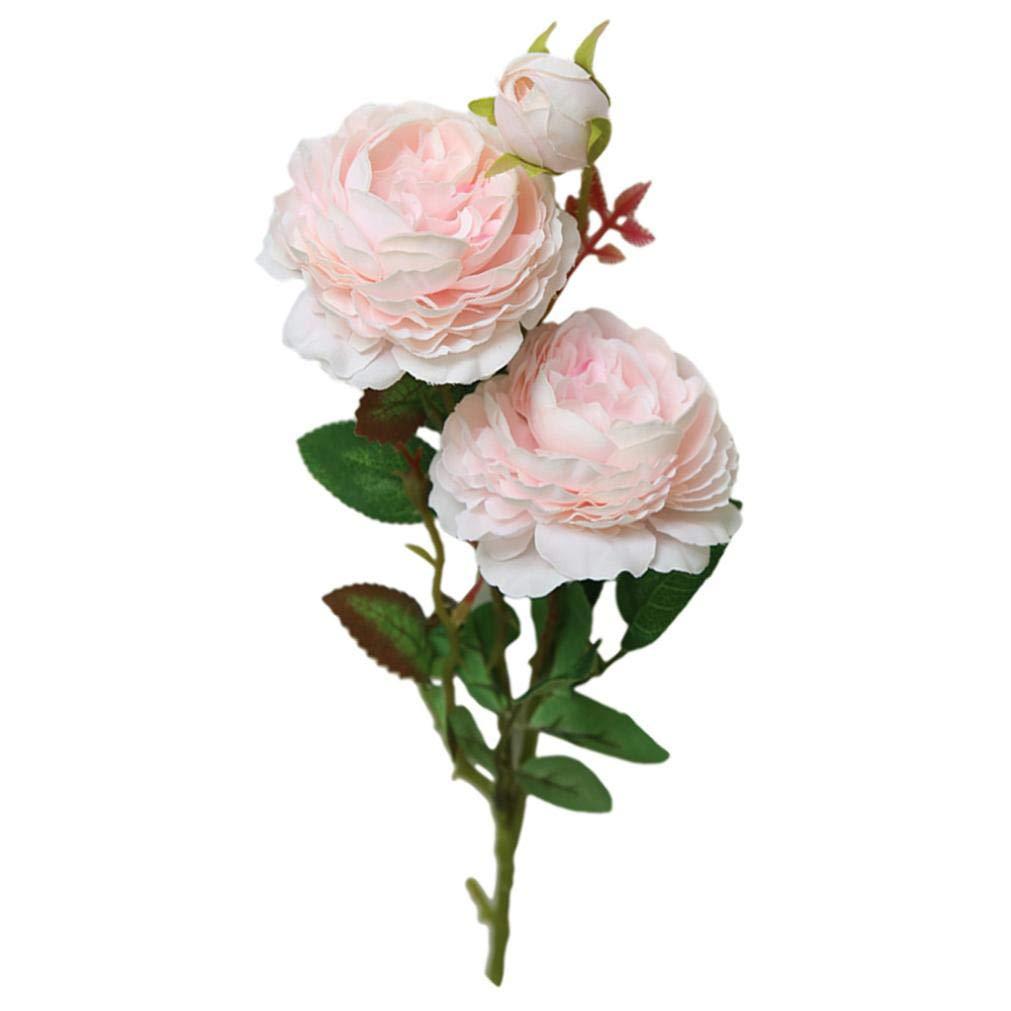 Bokeley 造花 ウェスタン ローズフェイク牡丹ブライダルブーケ ウェディングホームテーブル装飾 61cm ピンク BK-1 B07GDFZ19K ピンク
