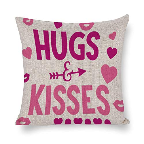 FGN Cotton Linen Throw Pillow Case Hugs Kisses Cushion Cover Home Sofa Decorative 18 X 18 Inch(Cover Only,No -