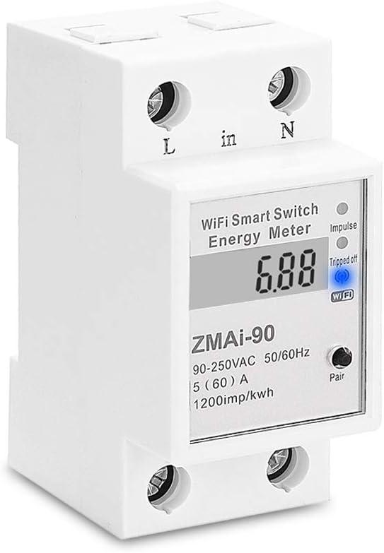 Yagusmart Monitor de medidor de energía inteligente Tuya WIFI, Consumo de electricidad digital kWh Medidor de energía inteligente de riel Din WiFi Medidor de potencia WiFi Monitor de vatios