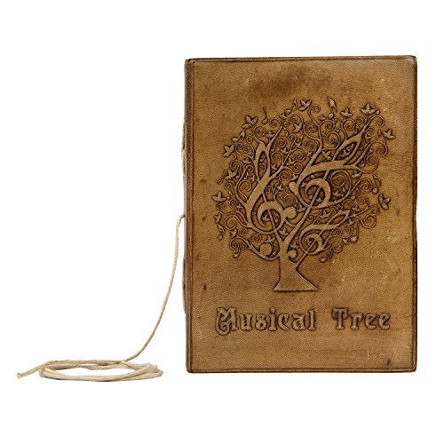 Valentine Gifts Ideas For Men & Women Handmade Leather Cover Journal Diary Notebook Personal Travel Journal Recipe Book Organizer 7 X 5 Inches Birthday Gifts For Him & Her (Musical Tree)