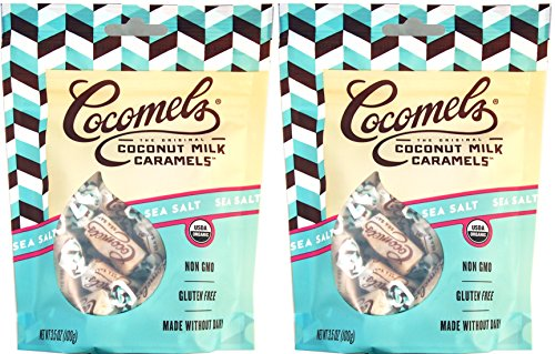 Cocomels Coconut Milk Caramels - Organic, Kosher, NON-GMO, Vegan - Made Without Dairy - Sea Salt 2 Pack