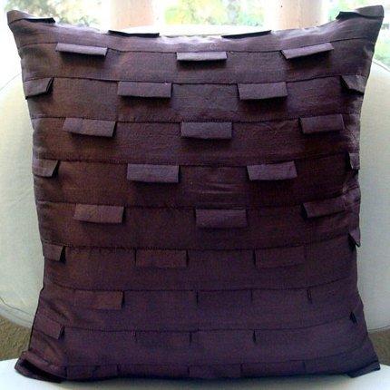 Designer Plum Pillow Shams, Pintucks Textured Pillow Sham, 24