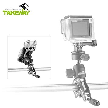 TAKEWAY R2 Ranger Clampod Bike/Motorcycle Mount, Aluminum Alloy, GoPro and  Other Action cam Accessory, 360°Degrees, GoPro Hero 7/6/5/4, iPhone