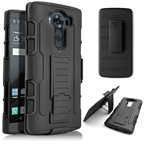 V10 Case, LG V10 Case, Harryshell(TM)Full Body Rugged Dual Layer Heavy Duty Hybrid Kickstand Robot Holster Cover Case with Belt Swivel Clip for LG V10 / G4 Pro