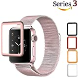 Josi Minea Apple Watch [ 38mm ] 3D Tempered Glass Screen Protector with Edge to Edge Coverage Anti-Scratch Ballistic LCD Cover Guard Premium HD Shield for Apple Watch Series 3 [ 38mm - Rose Gold ]