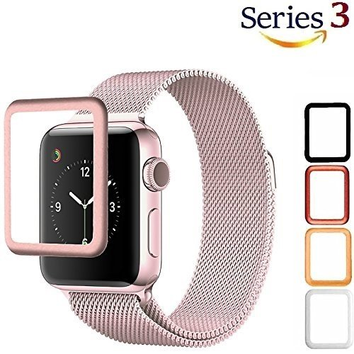 Josi Minea Apple Watch [ 38mm ] 3D Tempered Glass Screen Protector with Edge to Edge Coverage Anti-Scratch Ballistic LCD Cover Guard Premium HD Shield for Apple Watch Series 3 [ 38mm - Rose Gold ] by Josi Minea (Image #9)
