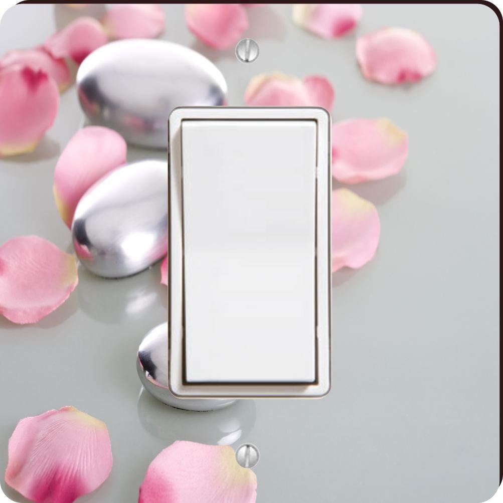 Rikki Knight 2045 Single Rocker Spa Stones with Rose Petals Design Light Switch Plate