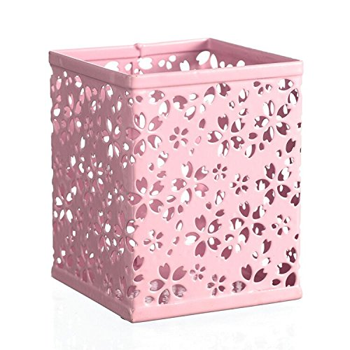 Square Metal Pen - Saim Hollow Flower Pattern Pencil Pen Holders Pot Cup Desktop Organizer Desk Supplies Holders & Dispensers Square Metal Pen Ruler Container for Office School, Pink