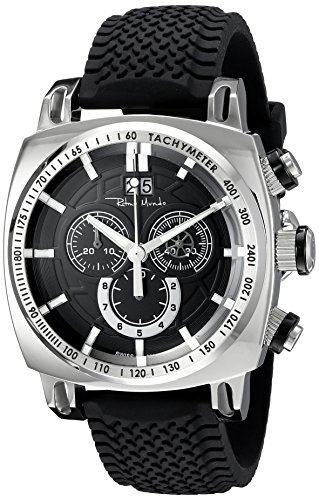 Ritmo Mundo Men's 2221/1 SS Black Racer Analog Display Swiss Quartz Black Watch