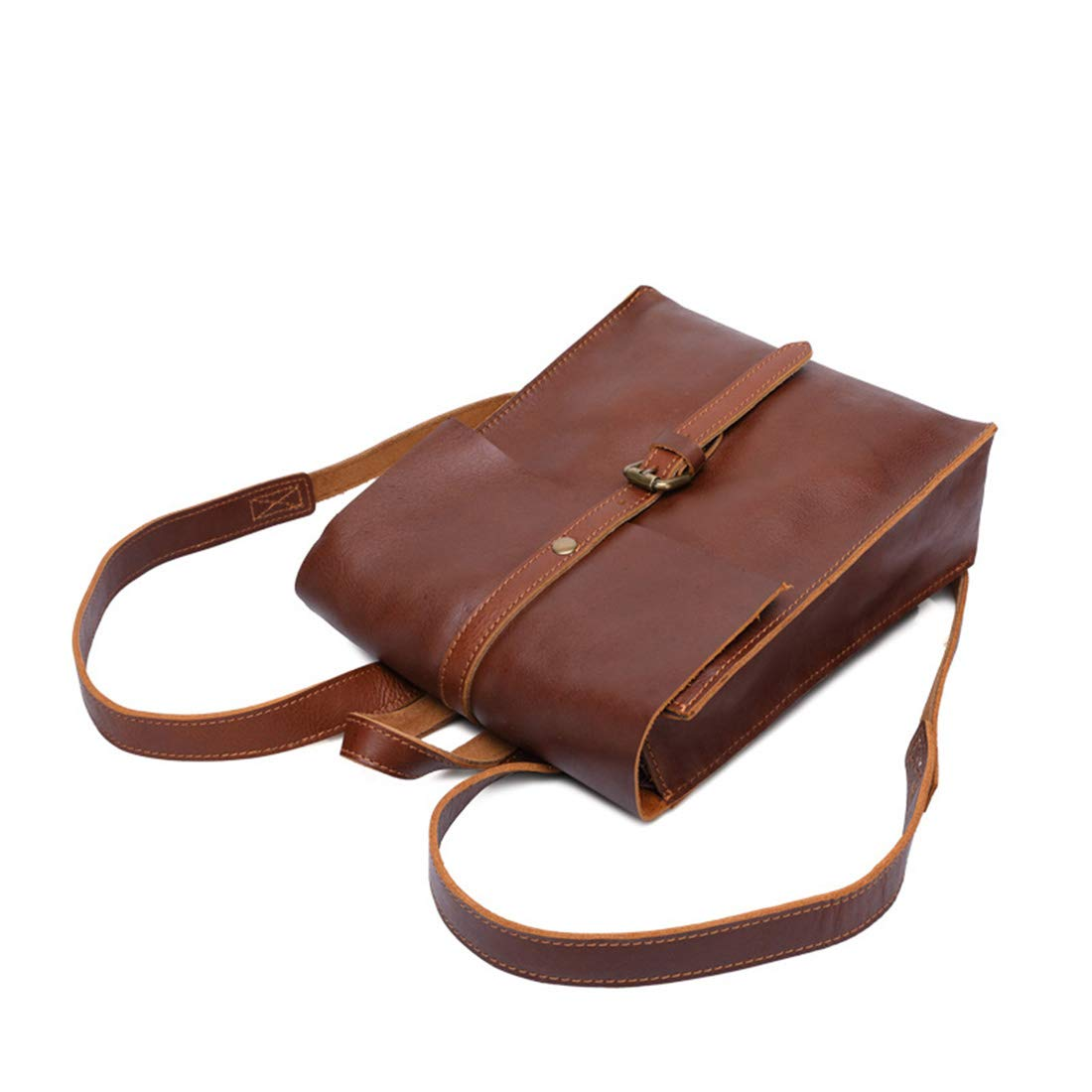 MATCHANT Retro Men//Women Backpack Waterproof Zipper Genuine Leather Ipad Bags Travel Shopping Color : Light Oil Color