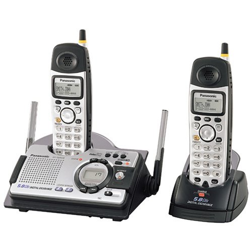Panasonic KX-TG5439S 5.8 GHz FHSS GigaRange  Shock and Splash Resistant Digital Cordless Answering System with Dual Handsets