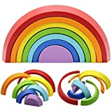 MorTime Wooden Rainbow Stacker, Tunnel Stacking Game, Jigsaw Puzzles Educational Toys, Shape Matching Learning Toy Set, Early Development Gift for Toddler