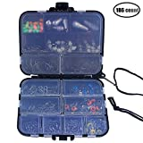 iztor 186pcs Fishing Accessories Kit,Jig Hooks,Bullet Bass Casting Sinker Weights,Different Fishing Swivels Snaps,Sinker Slides, Fishing Line Beads, Fishing Set with Tackle Box ¡