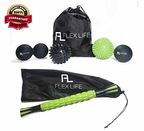 Flex Life Massage Ball Set & Muscle Roller Stick Massager – 2 Spiky Ball, 1 Lacrosse Ball, 1 Peanut Ball, (1) 18″ Roller Stick. Great Rollers For Plantar Fasciitis, Mobility, Restoration, Soreness – DiZiSports Store