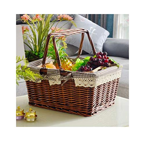 ZCYX Fruit Baske Willow Woven Outdoor Fruit Plate Outing Fruit Dish Picnic Fruit Tray Storage Compor -80 Fruit basket (color : A, Size : 16cm)