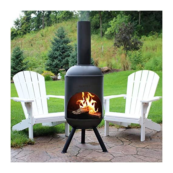 Sunnydaze Steel Outdoor Wood-Burning Chiminea Fire Pit, 5-Foot, Black - SPACE-SAVING SIZE: 19-inch diameter x 22 inches wide x 60 inches tall; weighs 30.6 pounds; Sits 9.5 inches off the ground; Three legs: 12.5 inches long x 2 inches diameter; Wood opening: 18-inch diameter x 30 inches tall; flue: 6.25 inches diameter x 20 inches tall LONG-LASTING DESIGN: Cold-rolled steel construction INCLUDES 1 CHIMINEA AND 1 WOOD GRATE: 4mm thick steel 15-inch diameter wood grate with 1.5-inch gaps between the bars - patio, outdoor-decor, fire-pits-outdoor-fireplaces - 51G1XfDFlsL. SS570  -
