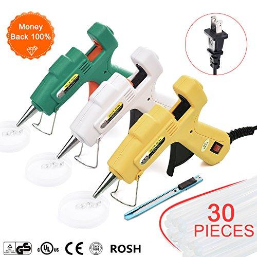 Glue gun, mini hot melt glue gun,with 30pcs Glue Sticks, Glue Gun Kit Flexible Trigger for DIY Small Craft Projects&Sealing and Quick Repairs 20-watt by VEVEE