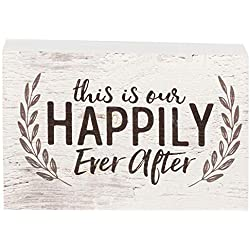 P. Graham Dunn This is Our Happily Ever After Laurel Wreath White 4 x 5 Inch Solid Pine Wood Barnhouse Block Sign