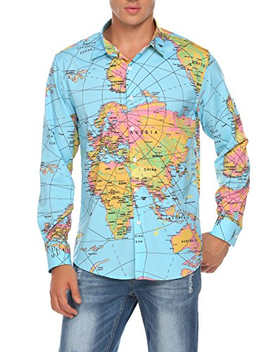 Blue Hawaiian Dress Costume - COOFANDY Men's Long Sleeve World Map Printed Casual Button Down Dress Shirt For Party, Club,Wedding,Costume,Vacation, Light Blue, Large