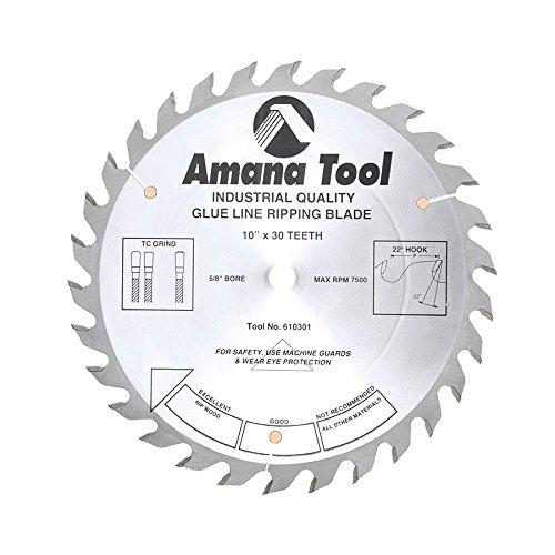 Line Rip Saw - Amana Tool 610301 Glue Line Ripping 10-Inch x 30 Tooth TCG 5/8 Bore Saw Blade