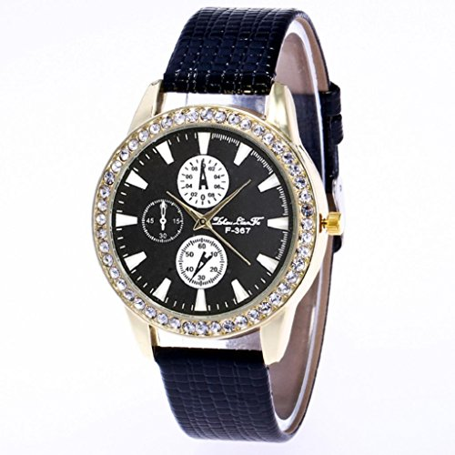 - Womens Quartz Wrist Watches,Hosamtel Retro Design Leather Strap Analog Watch A50 (Black)