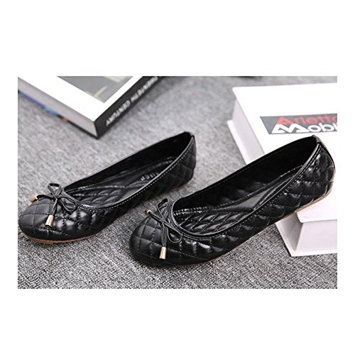 Plus Thin 39 Mom Size black Bowknot Flat Moccasin gommino Shoes qfC1fYdw