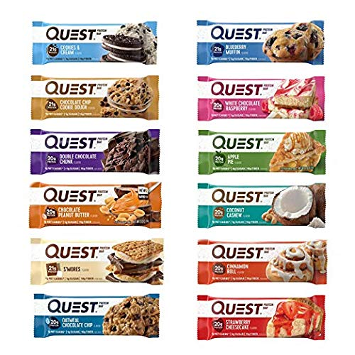 Quest Nutrition Protein Bar Adventure Variety Pack. Low Carb Meal Replacement Bar w/20g+ Protein. High Fiber, Soy-Free, Gluten-Free (24 Count)
