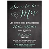 Bridal Shower Invitations, Soon to Be Mrs, Black, Mint, White, Chalkboard, Blackboard, Hearts, Bride to Be, Future Mrs, Set of 10 Custom Printed Invites with Envelopes