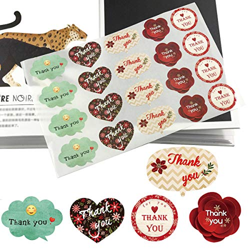 (Thank You Stickers, 500pcs Adhesive Label Stickers, 5 Unique Design Stickers, Coated Paper Adhesive Stickers, Decorative Sealing Stickers for Weddings Baby Showers Birthday Business Christmas Gifts)