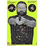 "50 pack - 12 x 18 inch ""Bad Guy"" Splatterburst Reactive Shooting Target - Shots Burst Bright Fluorescent Yellow Upon Impact - Gun - Rifle - Pistol - AirSoft - BB Gun - Air Rifle"