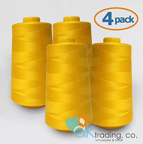 AK-Trading 4-Pack GOLD Serger Cone Thread (6000 yards each) of Polyester thread for Sewing, Quilting, Serger
