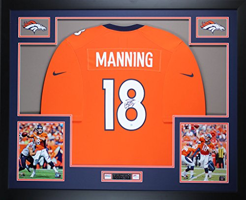 Peyton Manning Autographed Orange Broncos Jersey - Beautifully Matted and Framed - Hand Signed By Peyton Manning and Certified Authentic by Steiner COA - Includes Certificate of Authenticity