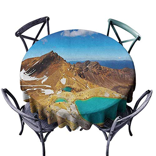 ScottDecor Tulle Round Tablecloth Fabric Tablecloth New Zealand,Tongariro National Park Emerald Lakes and Mountains Natural Tourist Attractions, Multicolor Diameter 70""