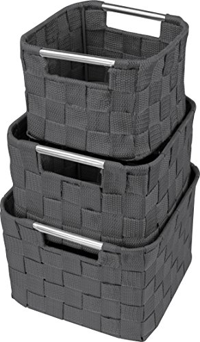Sorbus Storage Box Woven Basket Bin Container Tote Cube Organizer Set Stackable Storage Basket Woven Strap Shelf Organizer Built-In Carry Handles (Square Round Woven Basket Set - 3 Piece, (Organizer Handle Tote)