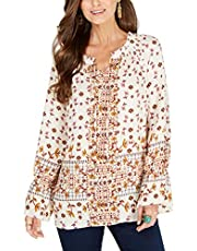 Style & Co. Printed Peasant Top,