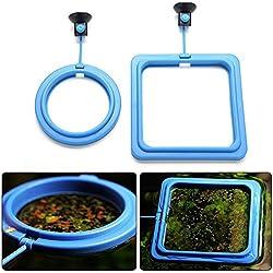 Vivian Aquarium Fish Tank Feeding Ring Station Suction-cup Floating Food Feeder 2pcs