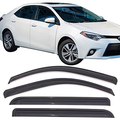 Window Visors Fits 2014-2017 Toyota Corolla | Dark Smoke Car Rain Sun Window Shade Guard Visor by IKON MOTORSPORTS| 2015 2016