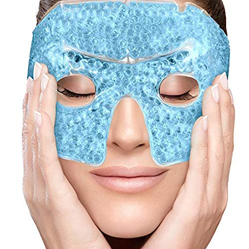 PerfeCore Eye Mask - Get Rid of Puffy Eyes - Migraine Relief, Sleeping, Travel Therapeutic Hot Cold Compress Pack with Cover - Gel Beads, Spa Therapy Wrap for Sinus Pressure Face Puffiness Headaches ()