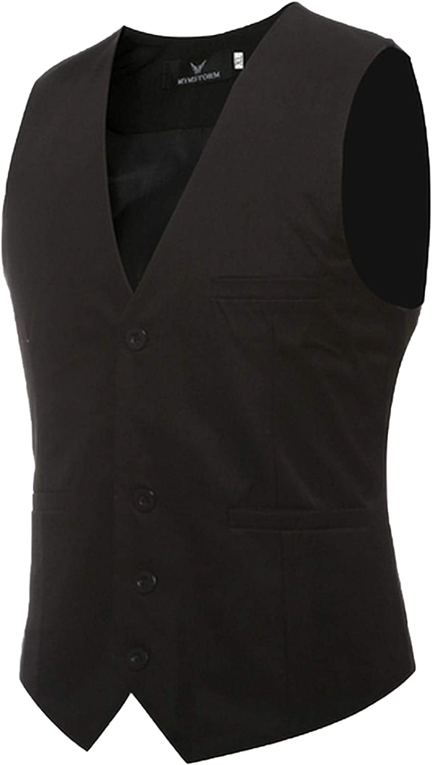 Outwears Mens Formal Vest Solid Color Wedding Vest Business Casual Mens Vest 9Colour 8 Size