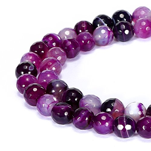 BRCbeads Gorgeous Natural Purple Stripe Agate Gemstone Faceted Round Loose Beads 4mm Approxi 15.5 inch 88pcs 1 Strand per Bag for Jewelry -