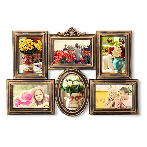 Asense Antique Golden Collage Photo Frame, Wall Hanging 4 by 6 Inch Photos (Golden)