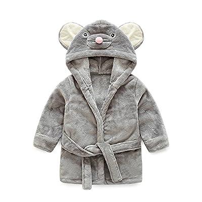 Top and Top Little Girl's Coral Fleece Bathrobe Unisex Kids Robe Pajamas Sleepwear