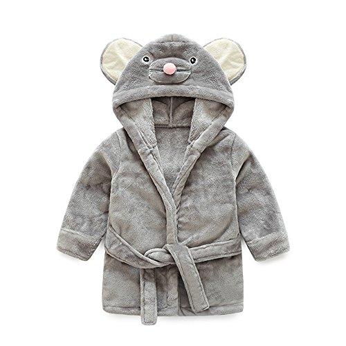 Top and Top Little Girls Coral Fleece Bathrobe Unisex Kids Robe Pajamas Sleepwear