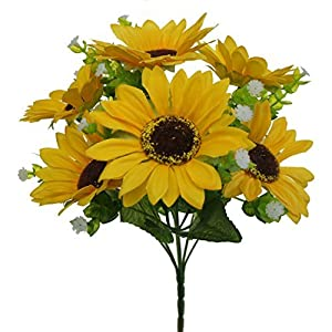 Lily Garden Mini Artificial Sunflower 7-Stems Flowers and Baby's Breath (3) 48