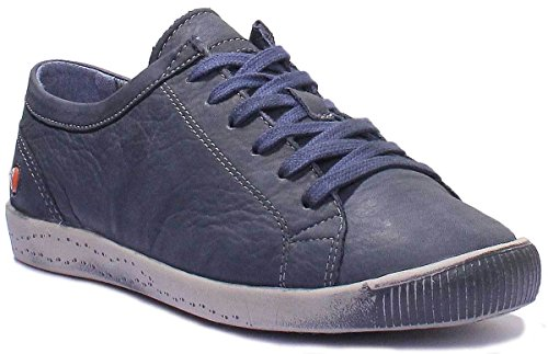 à Bleu Derbies washed femme lacets Softinos Marine Isis leather IqZppa