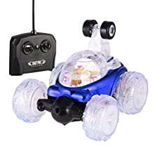 RC Stunt Car, YKS Invincible Tornado Twister - Multifunctional Rechargeable RC Acrobatic Stunt Car with LED Lights and Music (Blue)